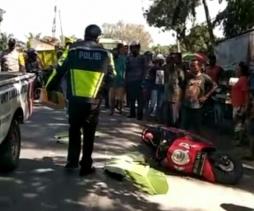 Kecelakaan di Jalan Umum Tebingtinggi - Pematangsiantar, Pengendara Sepedamotor Tewas di Tempat