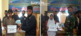 Kepala Desa Keramat Mupakat, Bapak Abdul Latif SE Menyerahkan Bantuan Lansung Tunai Tahap Pertama