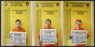 Satresnarkoba Polres Rohil Tangkap Tiga Orang Pria Saat Transaksi Sabu