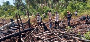 Kasubag Humas Polres Rohil Bersama Kapolsek Sinaboi Lakukan Pendinginan Sejumlah Titik Api
