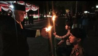 Meriah Pawai Obor Menyambut HUT Ke-74 RI di Aceh Tengah