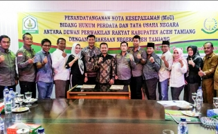 DPRK  Dan Kejari Aceh Tamiang, Tanda Tangani Nota Kesepahaman Bersama