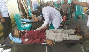 Menjelang Peringatan Hari Bhayangkara Ke-75, Polres Inhu Gelar Donor Darah di Lapangan Mapolres