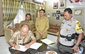 Bupati Serdang Bedagai Tandatangani NPHD di Polres Tebing Tinggi