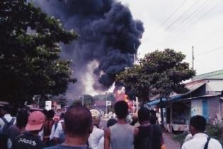 Mobil Tangki Terbakar di SPBU Batulawang Kota Banjar