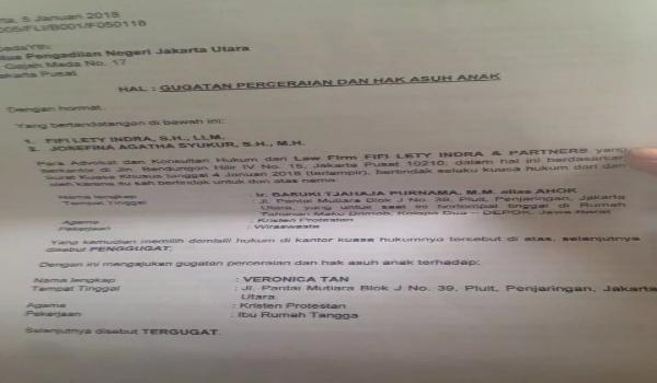 Beredar Surat Gugatan Cerai Ahok Untuk Istri Veronica Tan