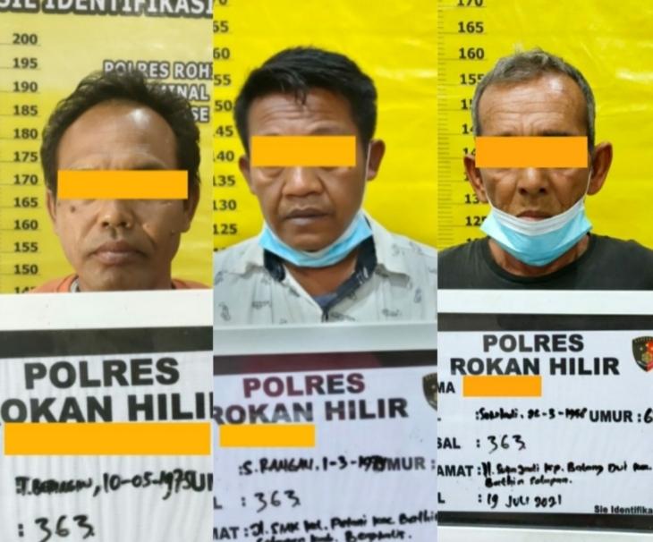 Diduga Lakukan Curat Pipa Besi PT CPI, Tiga Pria Diamankan Polres Rohil
