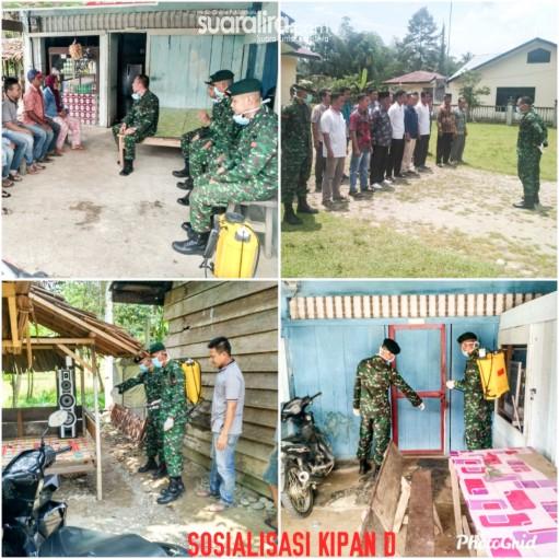 Cegah Wabah Covid-19, Batalyon Raider Khusus 111/KB Tualang Cut, Lakukan Sosialisasi Distancing Dan Disinfectant