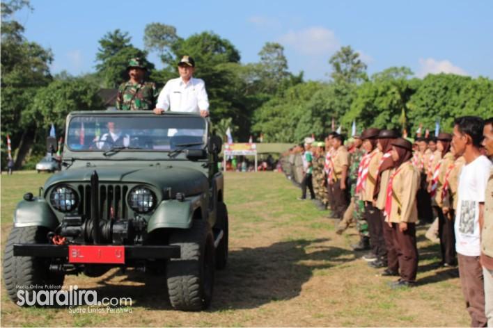 TNI Manunggal Membangun Desa (TMMD) Ke-105 Reguler Tahun 2019 DIM 0117/Atam, Dibuka Dengan Upacara