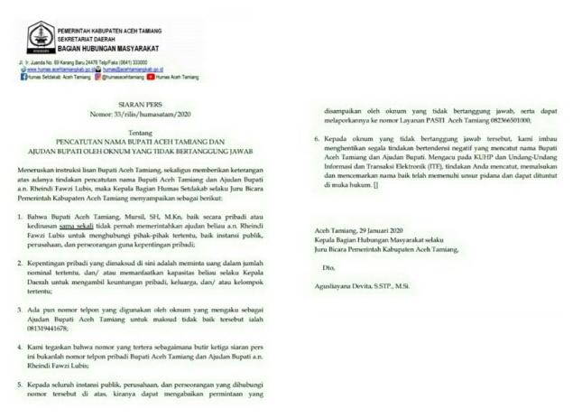 Terkait Nama Bupati dan Ajudan Dicatut, Pemkab Aceh Tamiang Keluarkan Siaran Pers