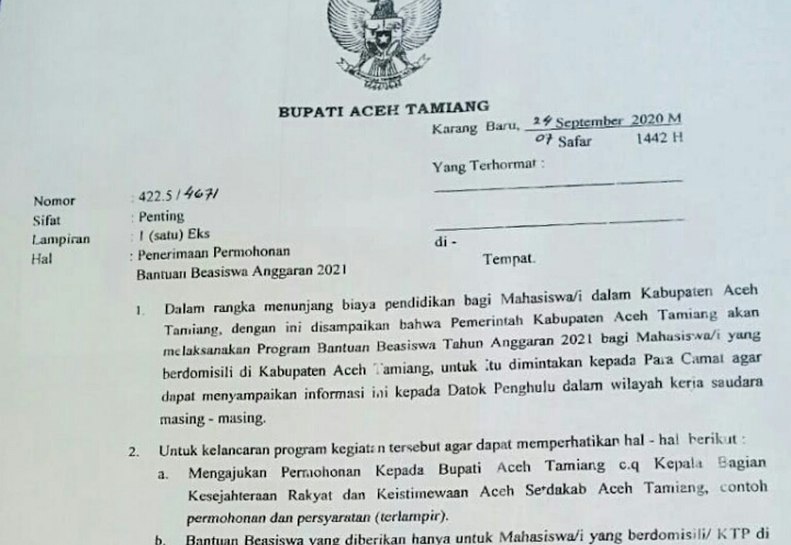Pemkab Aceh Tamiang Kembali Buka Program Beasiswa Tahun 2021