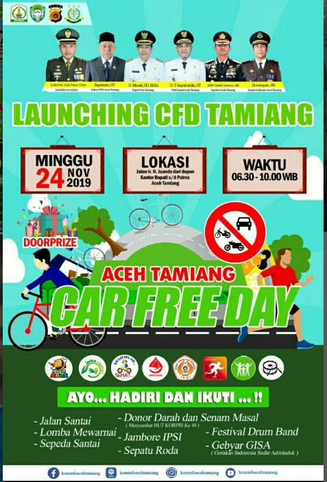 Besok Pemkab Aceh Tamiang, Akan Launching Car Free Day, Masyarakat Di Undang Ikut Serta
