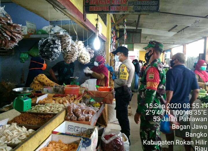 Polsek Bangko Gelar Giat Trecking ke Pasar Datuk Rubiah