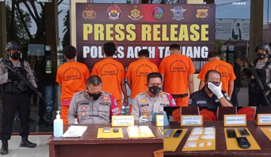 Polres Aceh Tamiang Berhasil Tangkap Serangkaian Pengedar Sabu