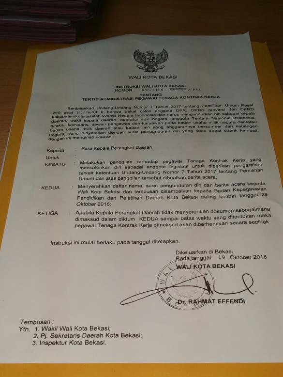 TKK Pemerintah Kota Bekasi yang maju Caleg, bersiap mengundurkan diri.