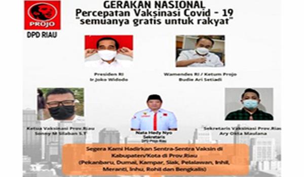 DPD Projo Riau Gelar Program 10 Ribu Dosis Vaksini Untuk Warga
