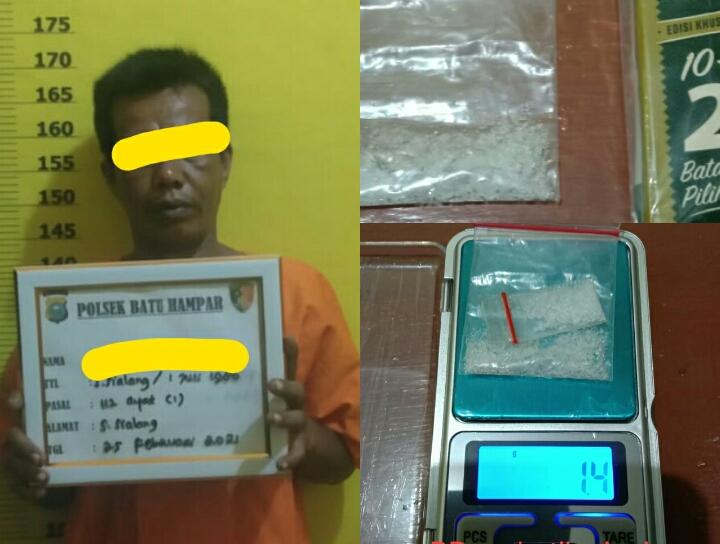 Diduga Bawa Sabu 1,23 Gram, Seorang Petani Diamankan Unit Reskrim Batu Hampar